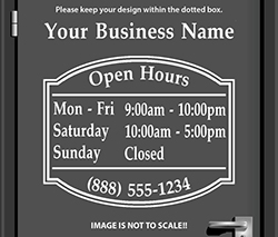 Custom Open Hours Signs at StickerTitans.com