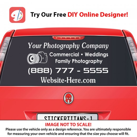 Rear Glass  Decal - Photography Business 1