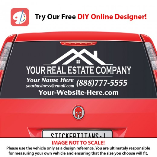 Rear Glass  Decal - Real Estate Business 1