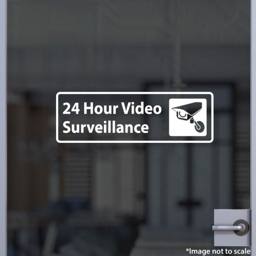 24 hour video surveillance decal