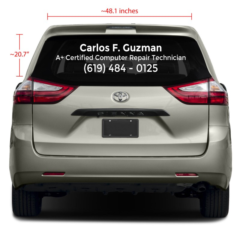 3-Line Rear Glass Business Vinyl Decal