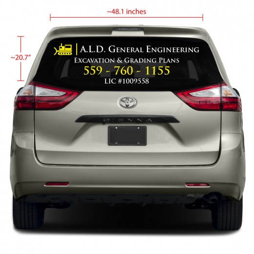 Two-Color Rear Glass Business Vinyl Decal