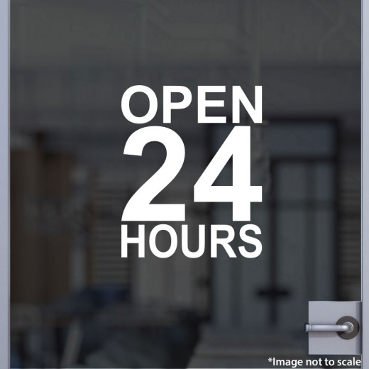 Open 24 hours decal