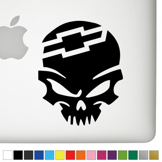 Bowtie Badass Skull Decal - Chevy bowtie rear window decal