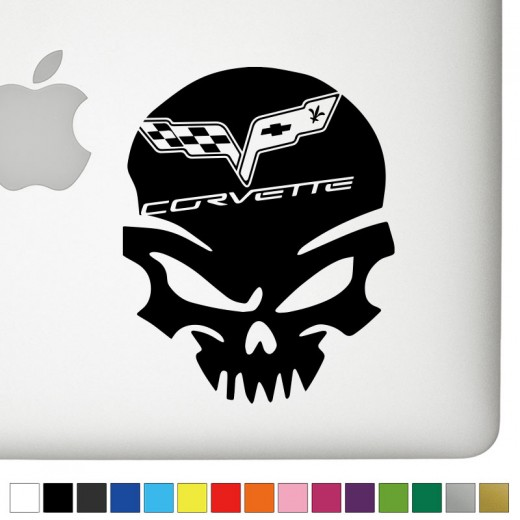 Chevy Corvette Badass Skull Decal