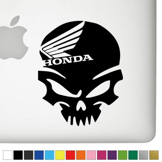 Honda Motorcycle Badass Skull Decal