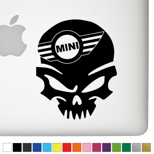 Mini cooper badass skull decal