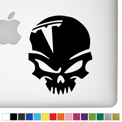 Tesla Badass Skull Decal