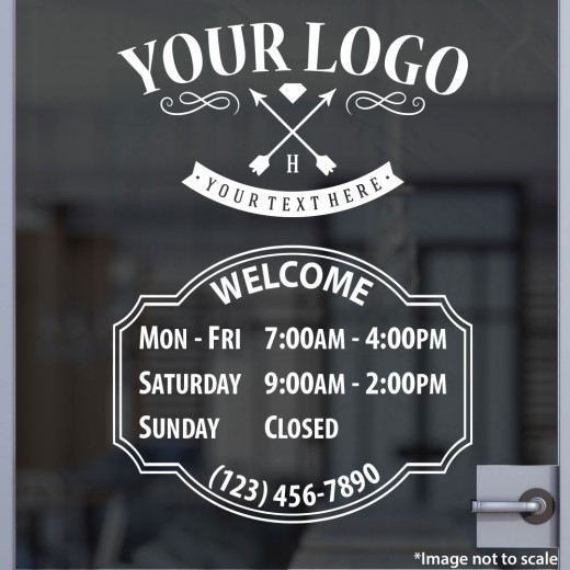 Open Hours with Logo Style 04