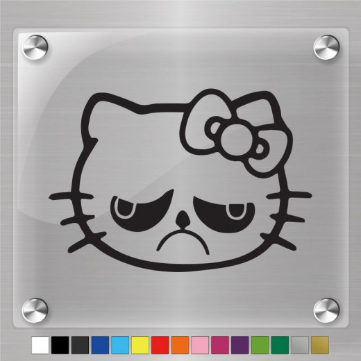 Hello Kitty Grumpy Cat Decal