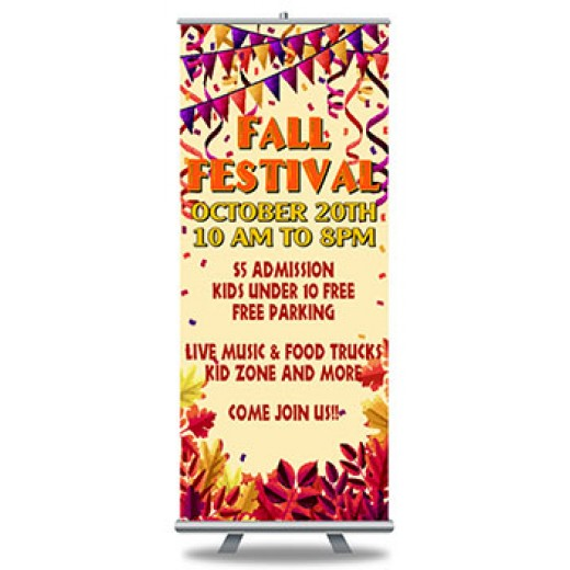 "Roll Up Banners Full Color Print and Stand 33"" x 79"""