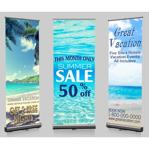 "Pop-up Banner and Stands 33"" x 79"""