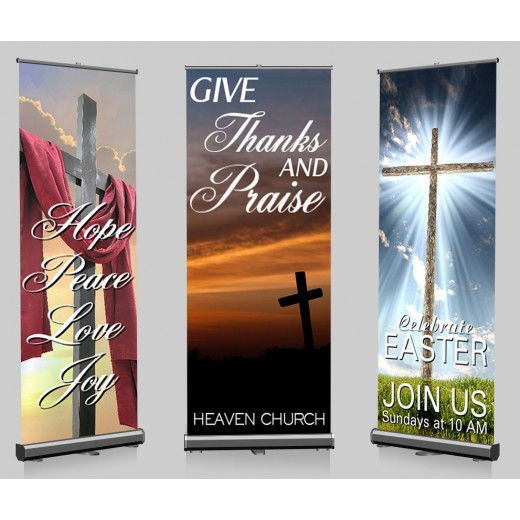"Pop-up Banners Custom Full Color and Stands 33"" x 79"""