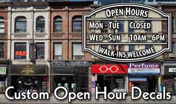 Custom Open Hour Decals